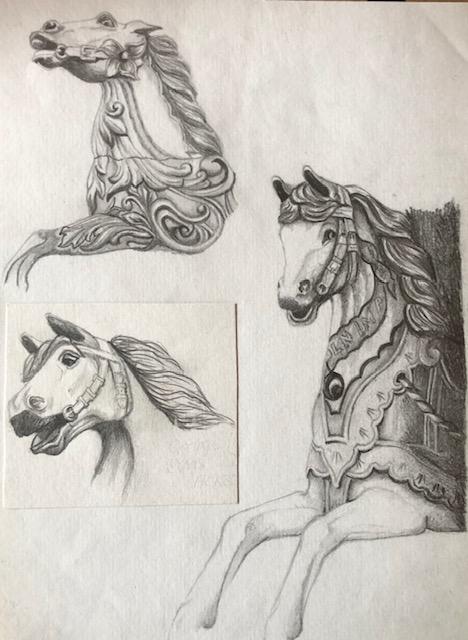 fairground horses pencil sketch