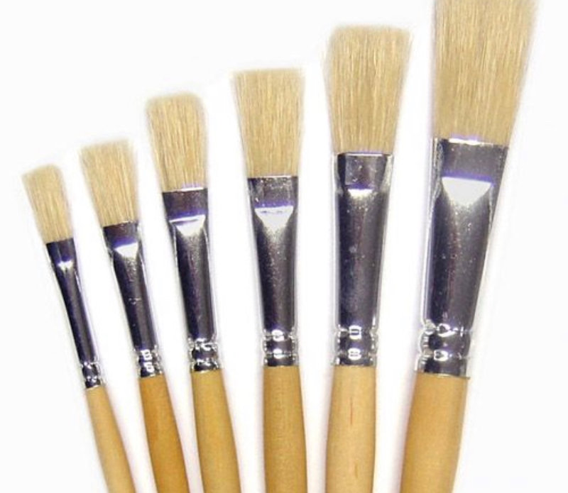 Flat brushes for oil paints