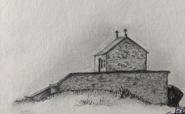 A highland Scottish Croft pencil sketch