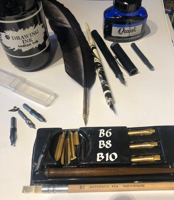Collection of nibs and ink