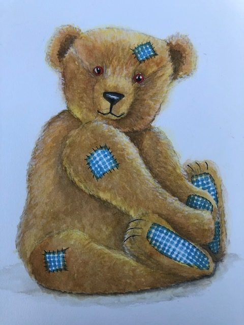 teddy painted with watered-down gouache