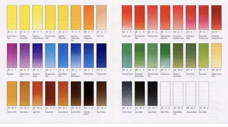 Winton oil paints colour palette